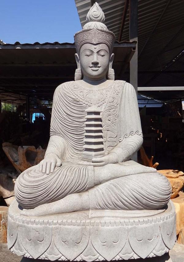 "Sold Large Garden Buddha Holding Pagoda 75"" #77ls109"