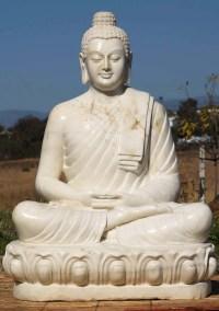 "SOLD Marble Meditating Buddha Statue 48"" (#71wm7): Hindu"