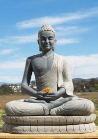 "SOLD Granite Meditating Buddha Garden Statue 43"" (#62g12"