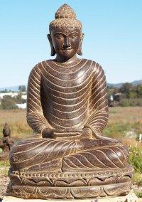 """Stone Meditating Buddha Garden Statue 41"""" (#83ls13): Hindu"""