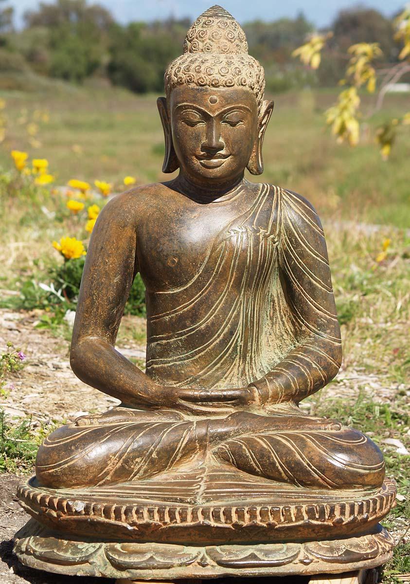 Sold Meditating Buddha Statue Stone 31 Quot 83ls42 Hindu