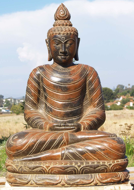 Sold Stone Dhyana Mudra Garden Buddha Statue 36 Quot 88ls234