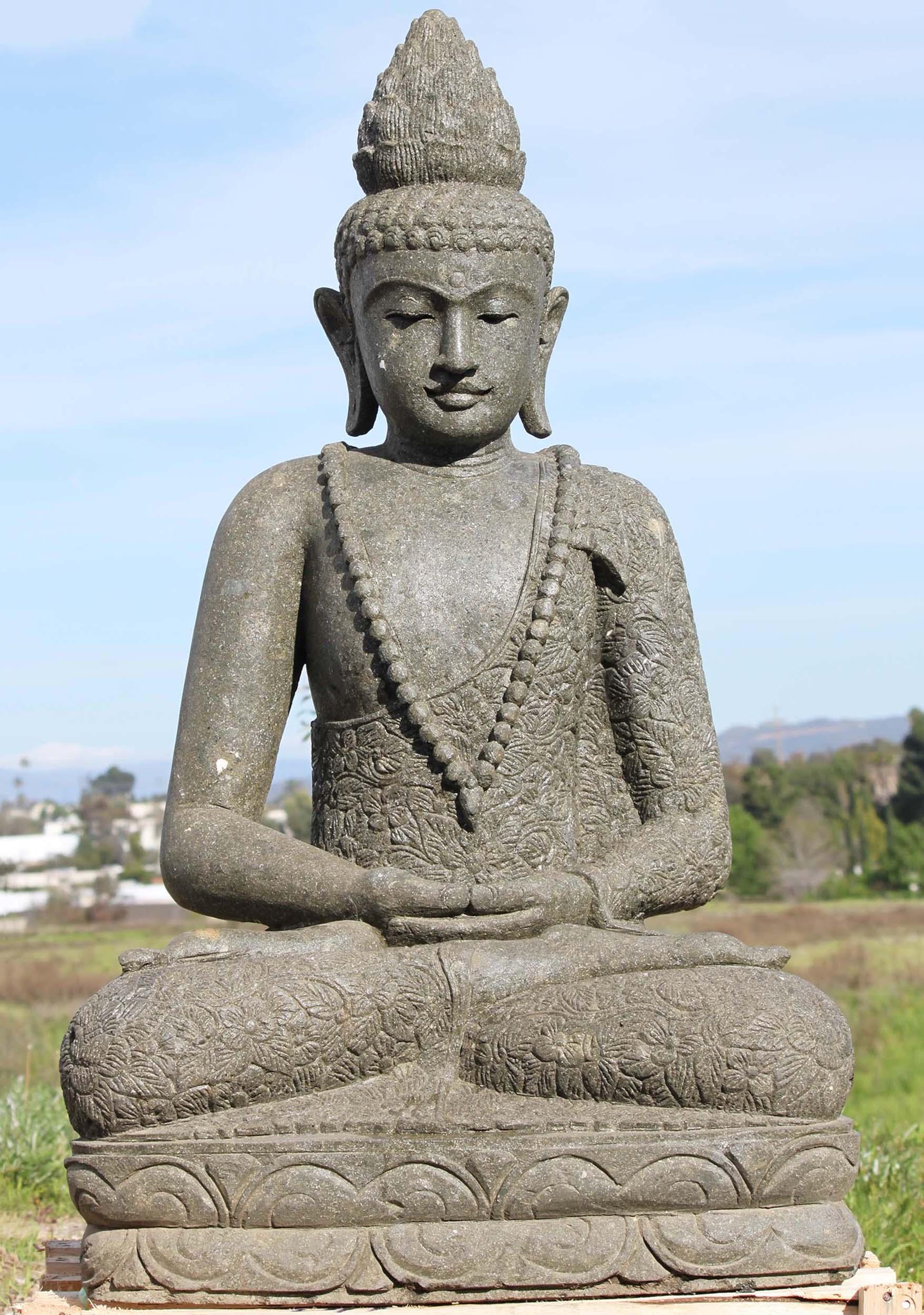 "SOLD Stone Meditating Buddha Garden Statue 48"" (#97ls297"