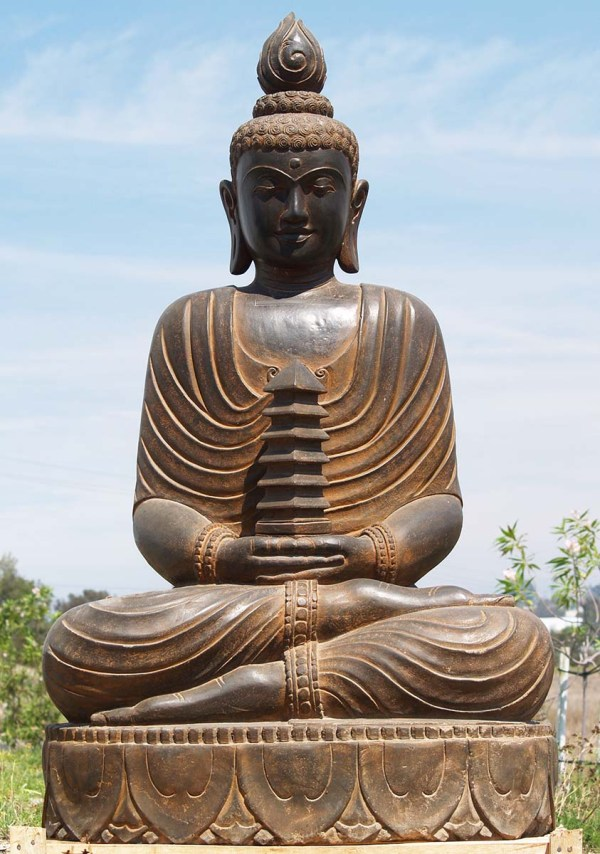"Sold Large Stone Pagoda Buddha Sculpture 61"" #85ls120"