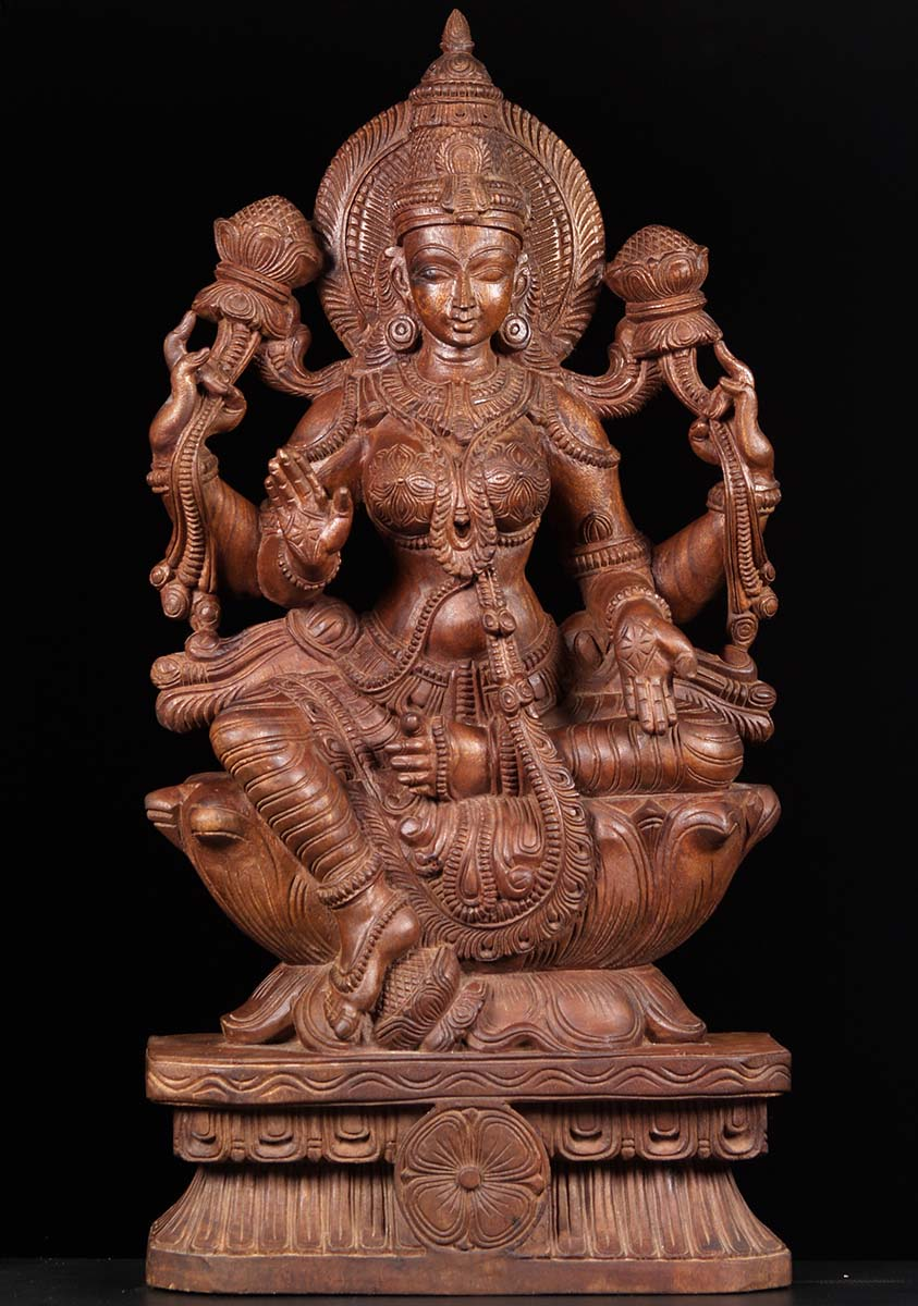 SOLD Seated Lakshmi Wood Carving 37 76w2ai Hindu Gods