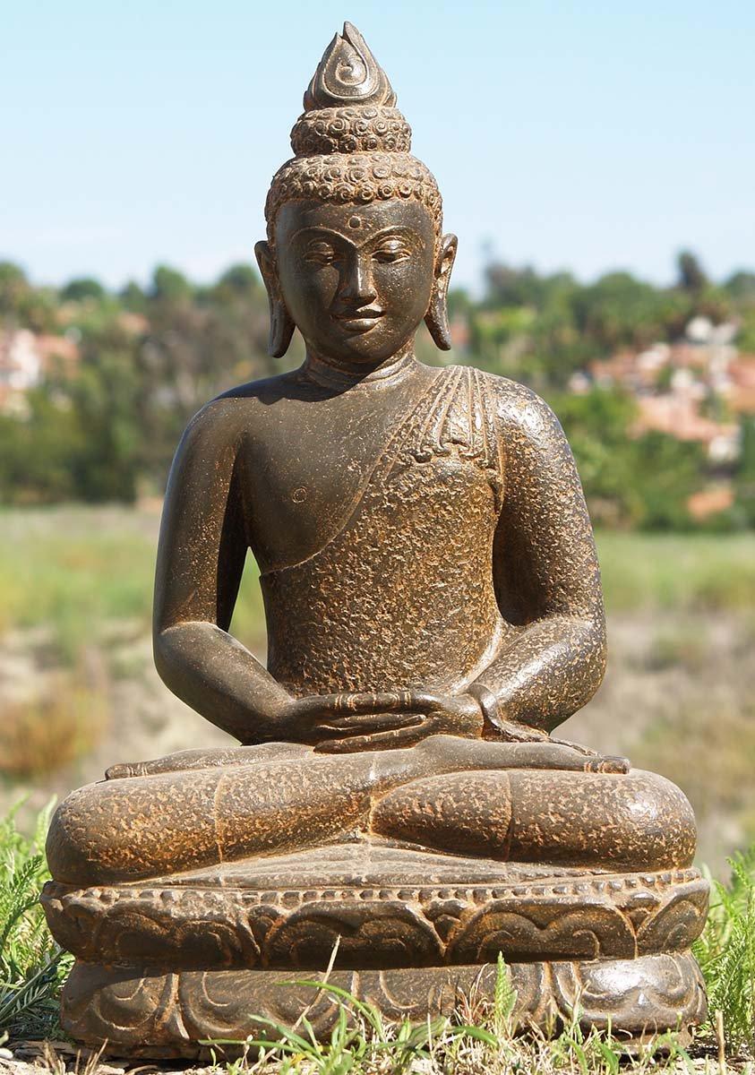 """Stone Meditating Buddha Garden Statue 25"""" (#85ls164"""