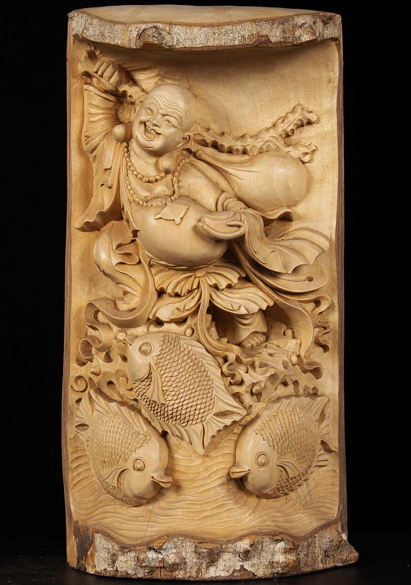 Sold Wooden Fat Amp Happy Buddha With Fish Carving 16