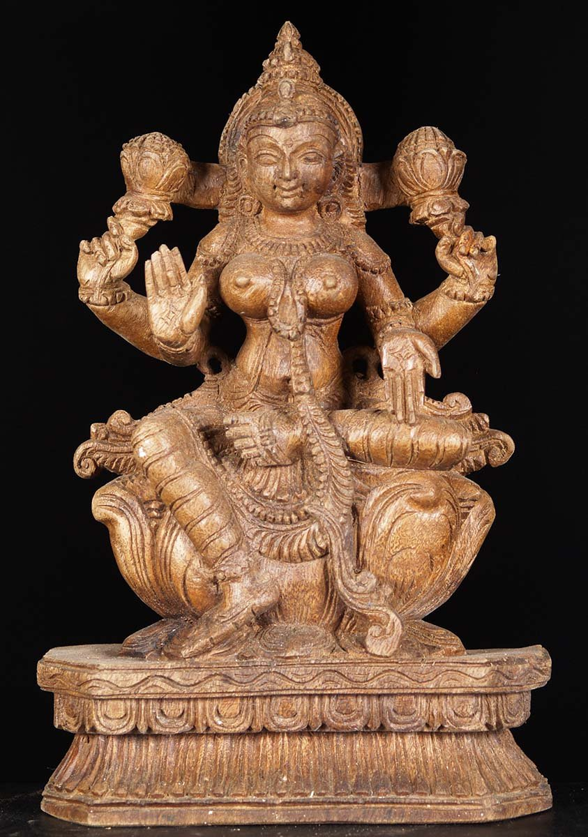 Sold Wooden Small Seated Lakshmi Statue 12 Quot 76w6z1