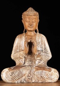 "SOLD Wooden Meditating Buddha Statue 16"" (#4bw6): Hindu"