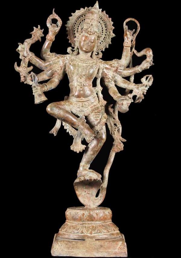 """Sold Brass Kaliya Krishna Statue 24"""" #67bb4 Hindu Gods & Buddha Statues"""