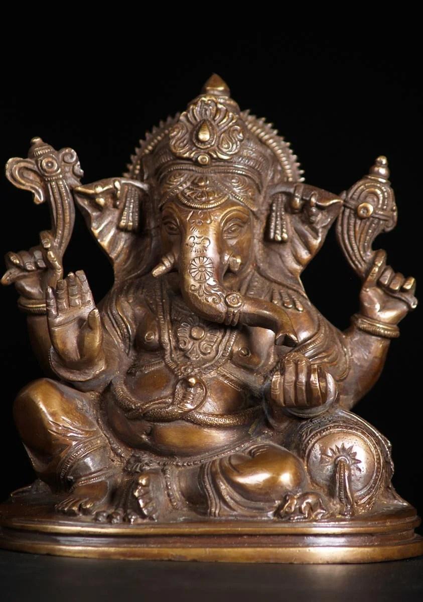 SOLD Brass Ganesh Statue on Pillow 75 72bs75 Hindu