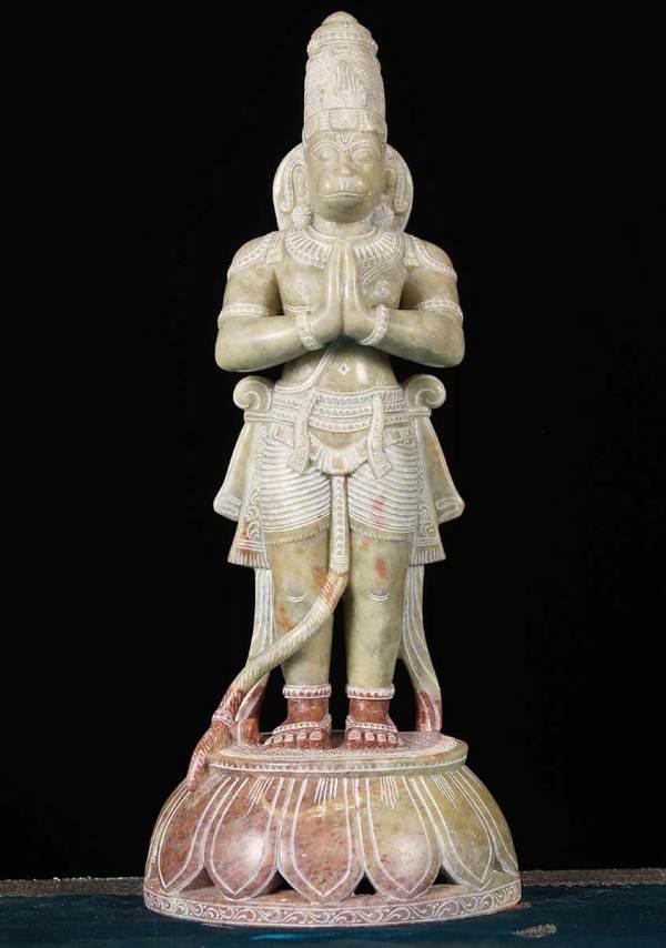 "Marble Namaste Hanuman Statue 15"" #65m11 Hindu Gods & Buddha Statues"