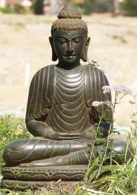 "SOLD Stone Meditating Buddha Statue 28"" (#69ls47): Hindu"