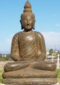 """Stone Meditating Garden Buddha Statue 39"""" (#77ls4): Hindu"""