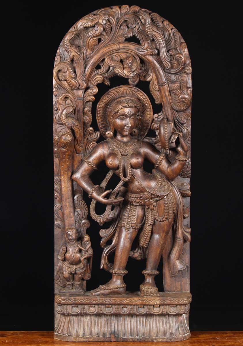 SOLD Wooden Mirror Devi Carving 36 65w15jj Hindu Gods  Buddha Statues
