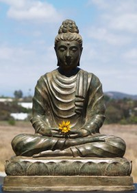 "Brass Gandhara Meditating Buddha Statue 26"" (#58t1): Hindu"