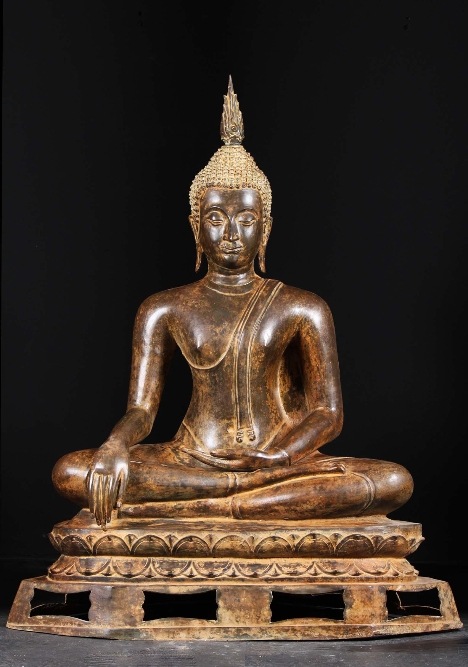 Sold Brass Stunning Sukhothai Buddha Statue 48