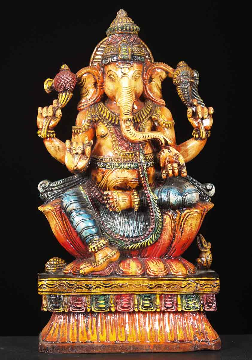 Sold Colored Wooden Ganesh Statue 18 Quot 65w12g Hindu