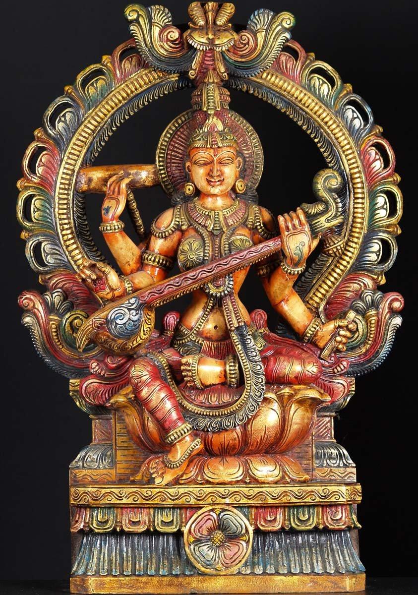 SOLD Wooden Hindu Goddess Saraswati 36 65w16c Hindu Gods  Buddha Statues