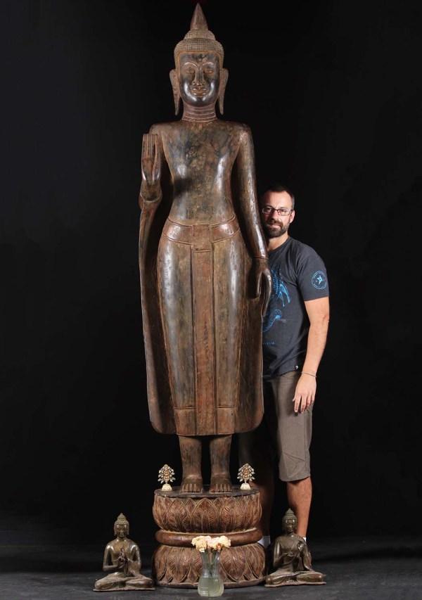 "Teak Wood Standing Abhaya Buddha Statue 108"" #84w10 Hindu Gods & Statues"