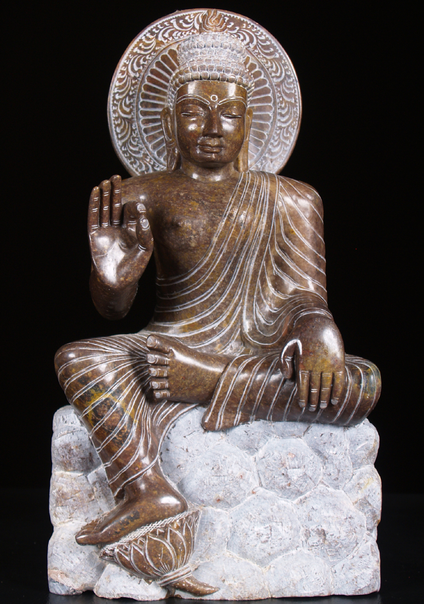 Sold Black Marble Seated Buddha Statue 13 Quot 52bm6a
