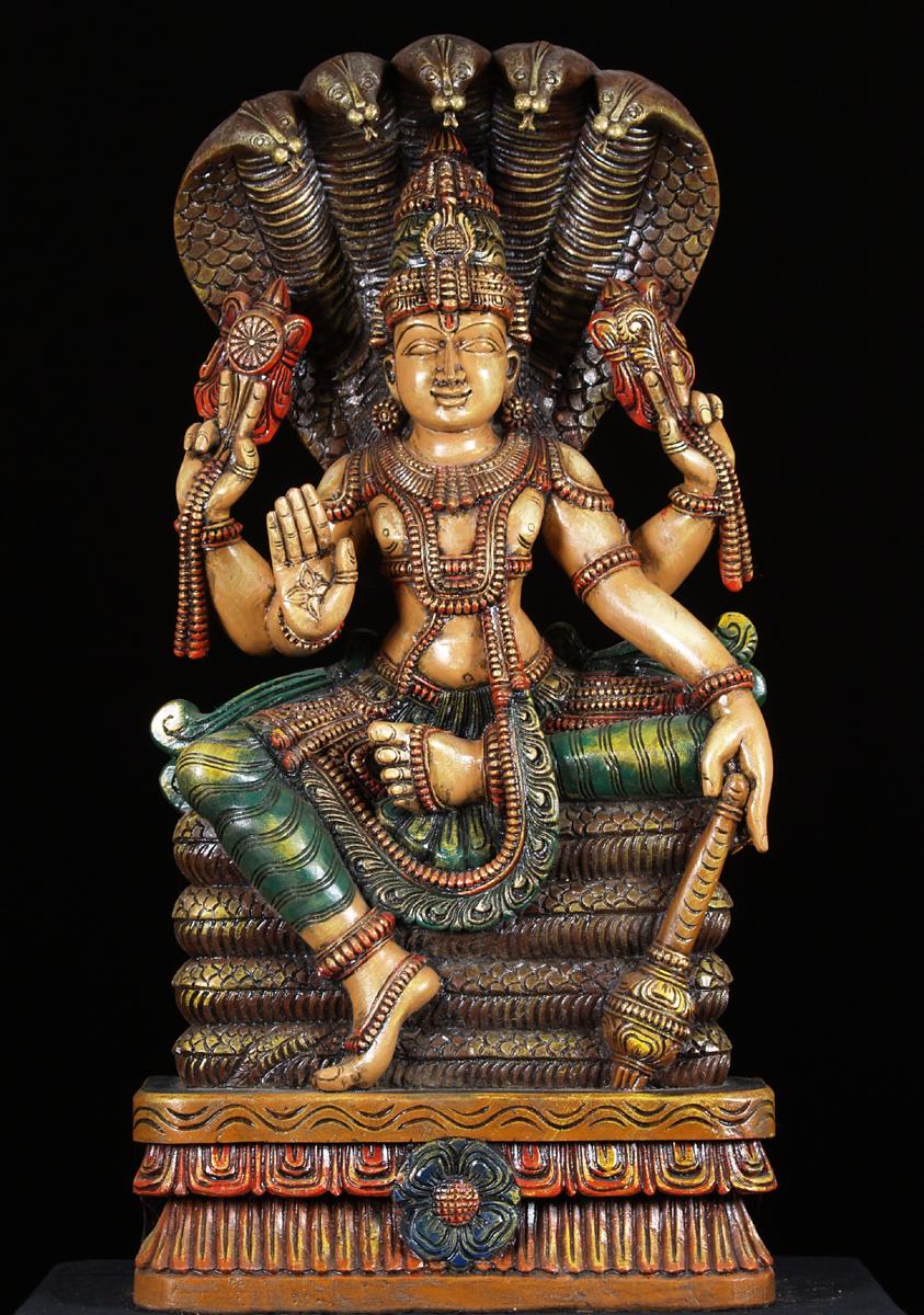 SOLD Vishnu Statue with 5 Headed Serpent Overhead 36 52w1n Hindu Gods  Buddha Statues