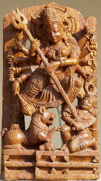 Sold Durga Defeating Buffalo Demon 30 Quot 30s1 Hindu Gods