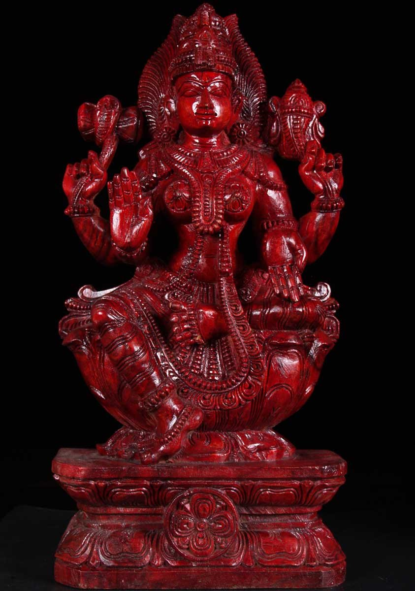 SOLD Red Shakti Wood Statue 24 59w2a Hindu Gods