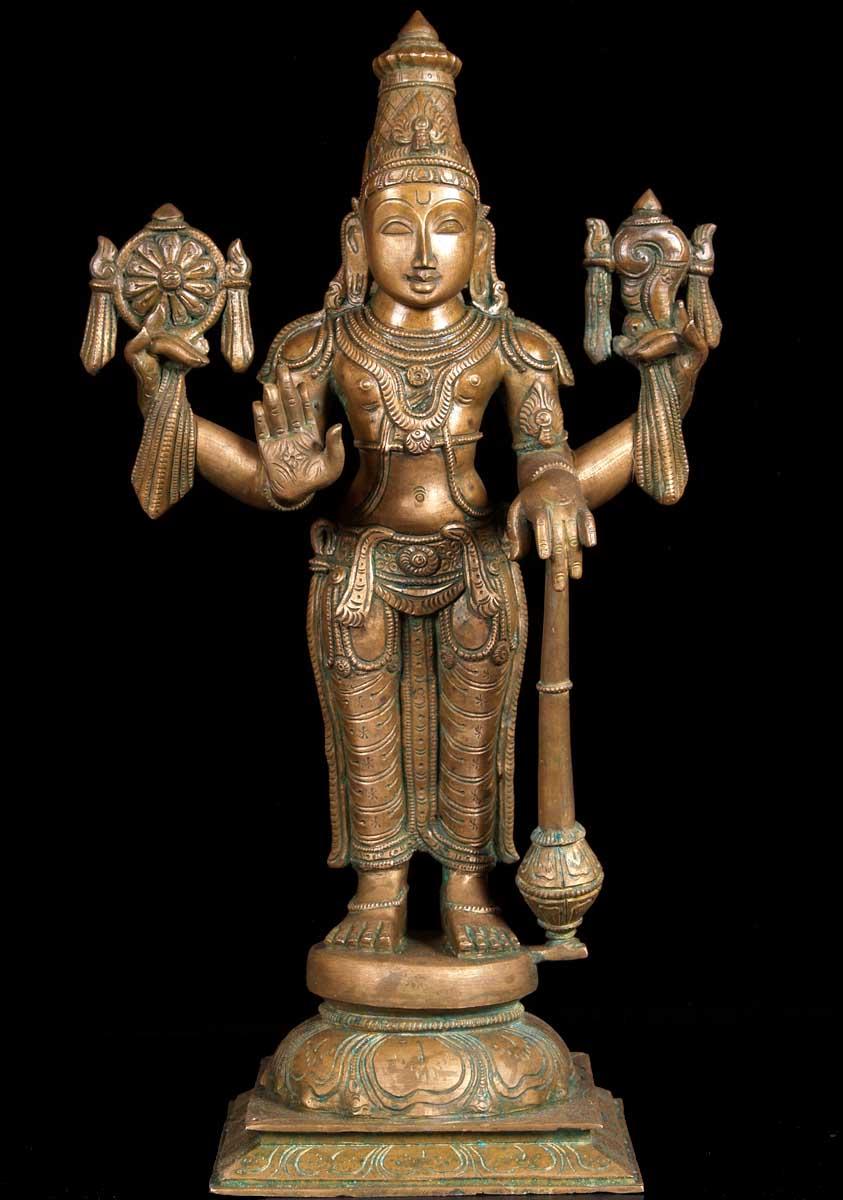Sold Bronze Vishnu Holding Club Discus Amp Conch 18