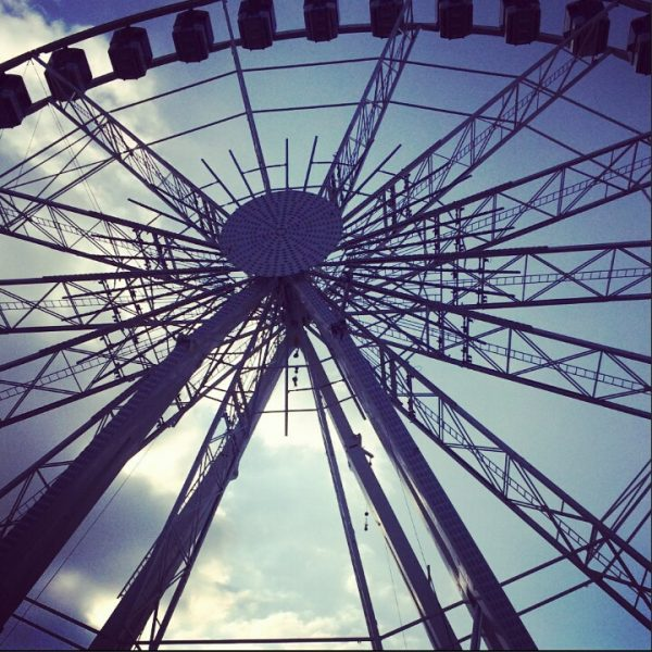 met hoogtevrees in het reuzenrad