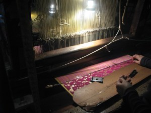 Hand woven and cut Velvet being worked