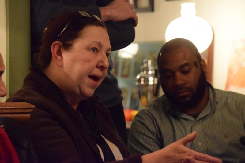Planning Commissioner Helena Syska (Sterling) and Supervisor Koran Saines (D-Sterling) talk options for saving the church.