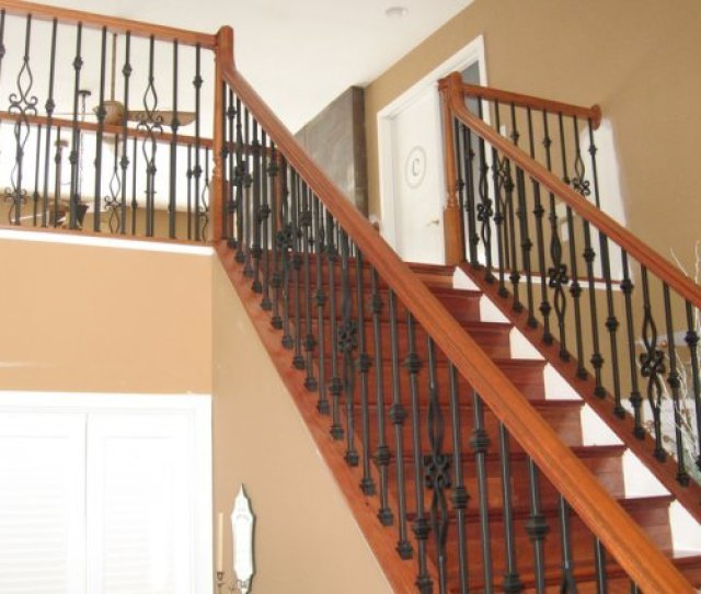 Before And After 4 From Knee Walls To A Decorative Metal Baluster System