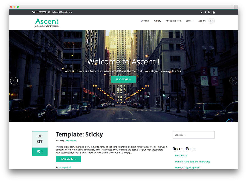 Ascent Free wordpress business theme