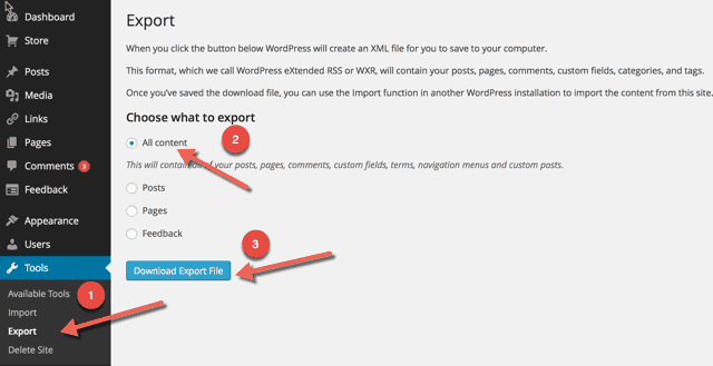 Download WordPress Backup Export File