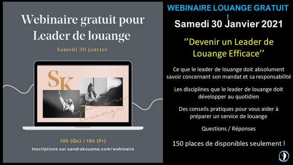 Webinaire gratuit louange Sandra Kouamé 30-01-2021