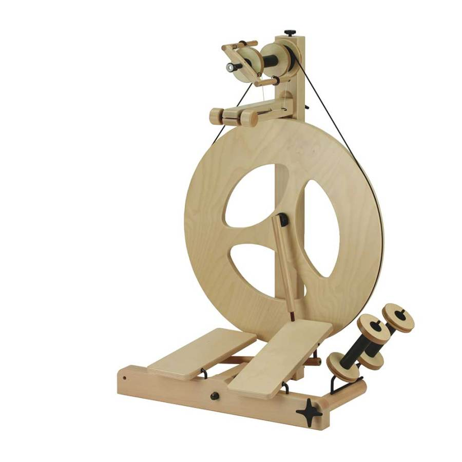 Louet Julia double treadle spinning wheel for fine yarns scotch tension