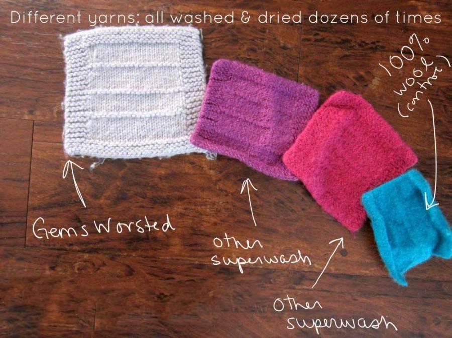 superwash yarn swatches