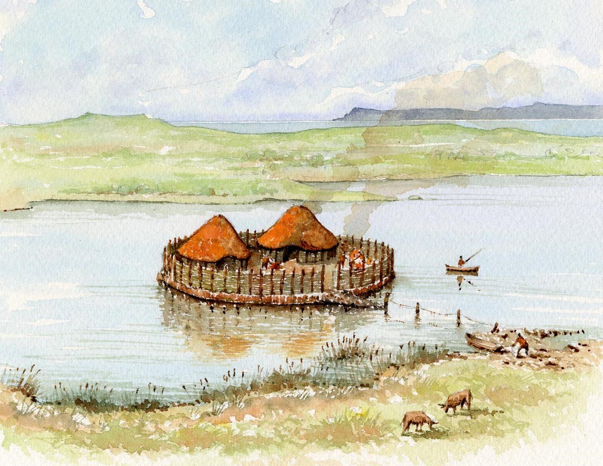 An artist's impression of a typical-sized crannóg in a small lake, close to the shore. While the majority of crannóga conformed to this template some would have been far larger and more elaborate in nature