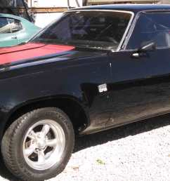 1974 chevy chevelle laguna sold black with red stripes black cloth interior 350 v 8 auto 2 door [ 3156 x 1296 Pixel ]