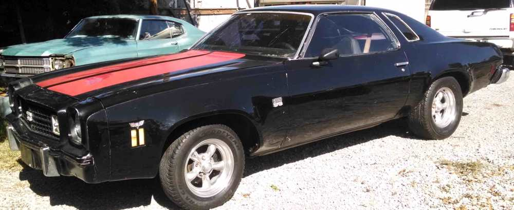 medium resolution of 1974 chevy chevelle laguna sold black with red stripes black cloth interior 350 v 8 auto 2 door