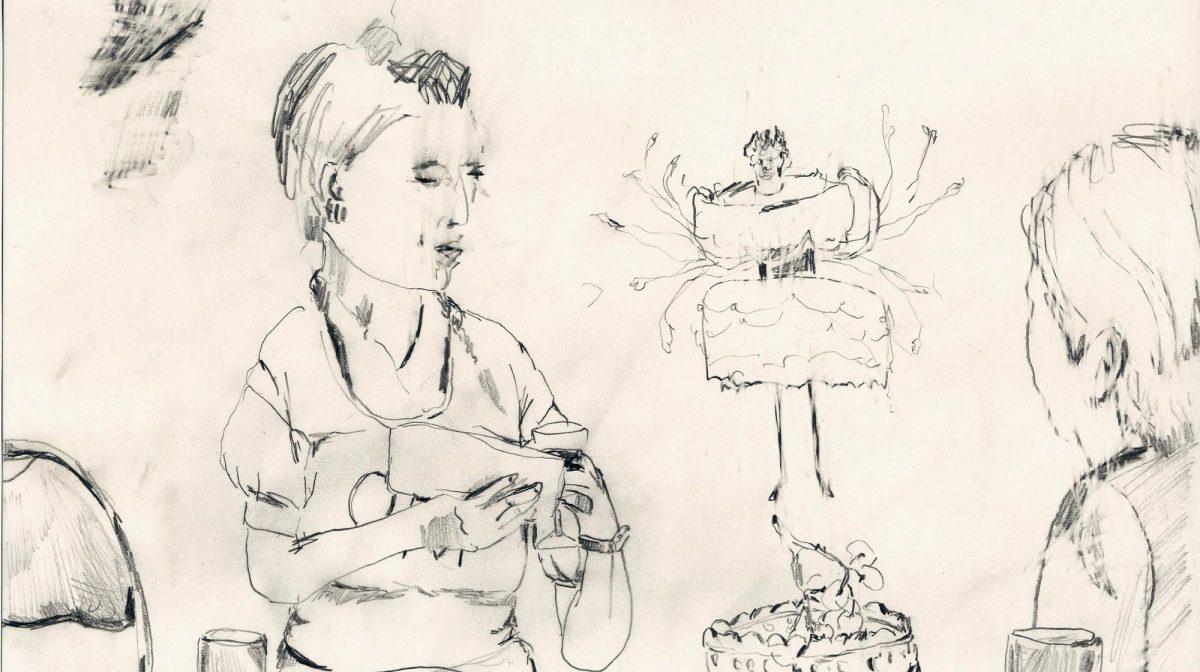 """Teckning """"Tova Sahlin som efterrätt"""". Teckningar: Rebecka Bebben Andersson. Den fysiska berättelsen"""