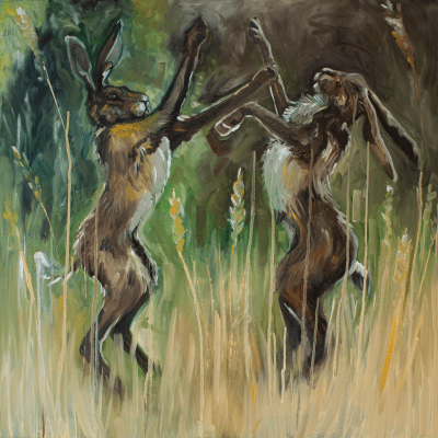 Boxing Hares - Louise Catterall