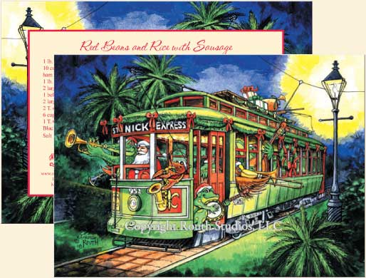 Louisiana Christmas Cards New Orleans Streetcar