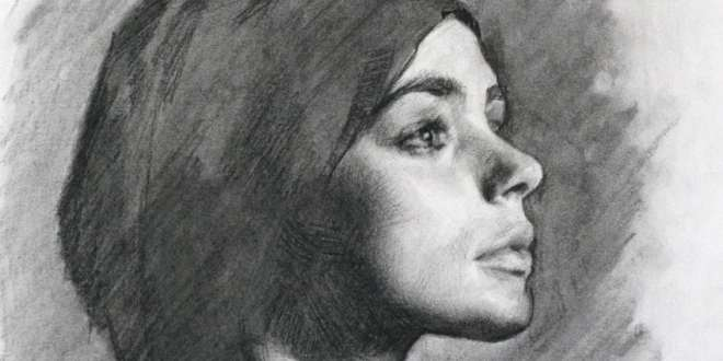 This-is-a-charcoal-portrait-of-Helen,-using-conte-charcaol-pencil-and-stick-for-the-darker-areas-and-detail.-I-also-used-a-stomp,-putty-rubber-and-bru