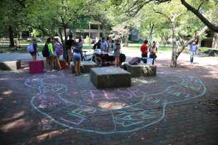 The event was held outside of the Bingham Humanities building.