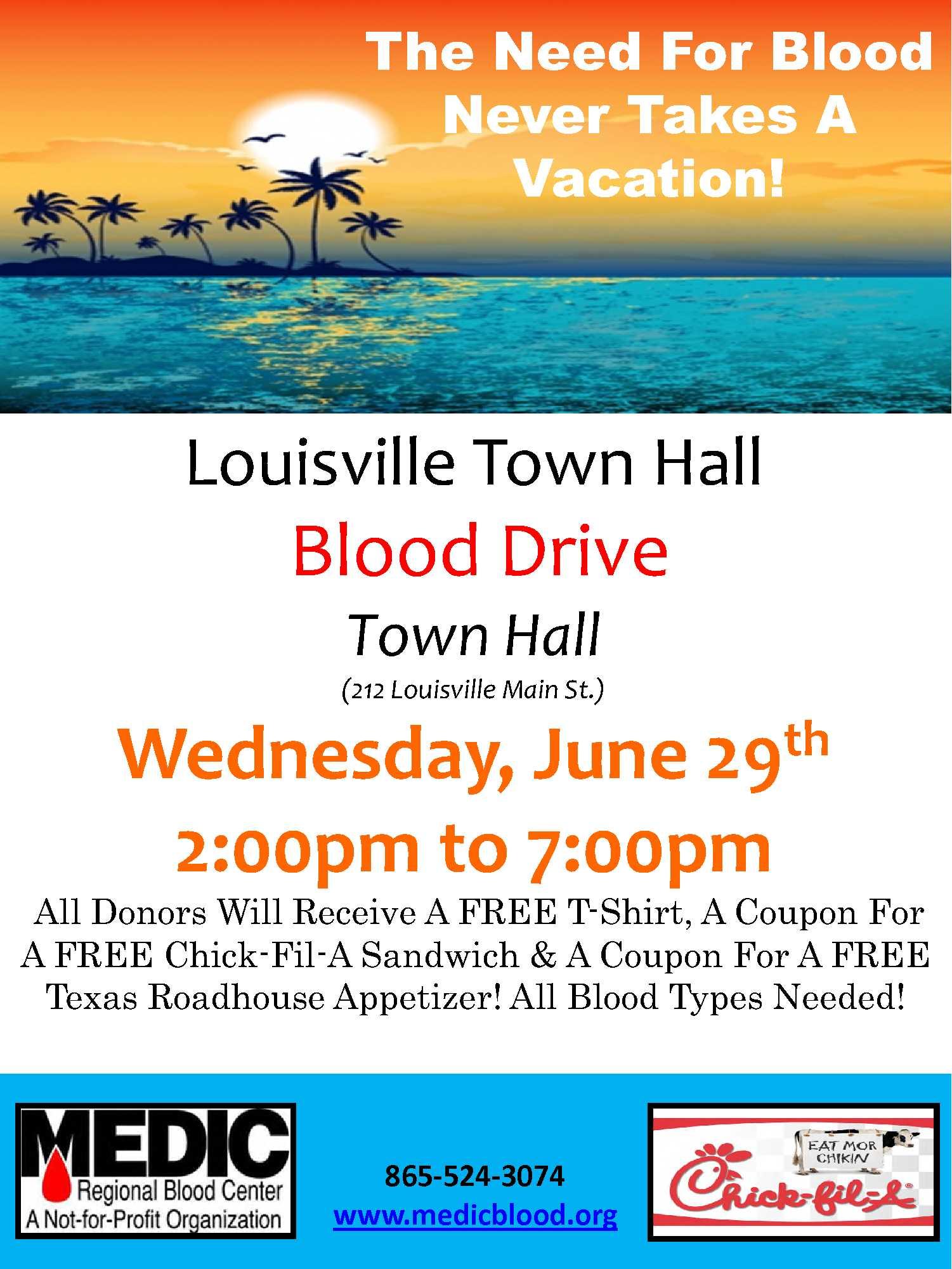 Vacation Flyer Louisville 1 Medic Blood Drive Town Of Louisville