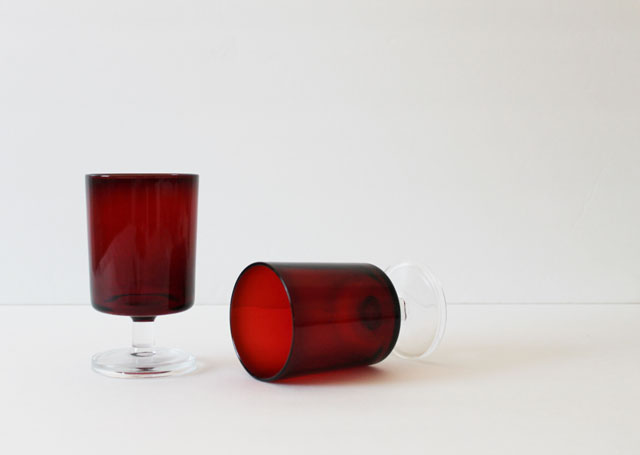 thrifted-ruby-glass-stemmed-glasses arcoroc