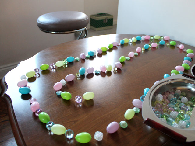 making-easter-garland-lay-out-eggs-and-beads-first