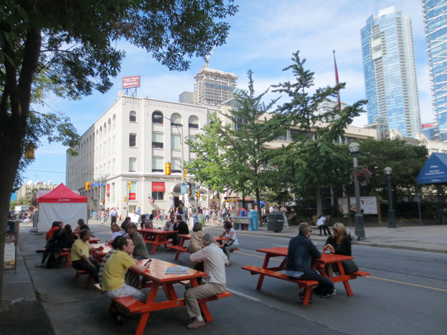 picnic-tables-on-john-street-tiff-festival